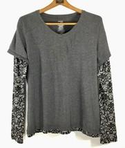 Danskin now women's size XL Activewear Layered look gray V neck long sle... - $18.29