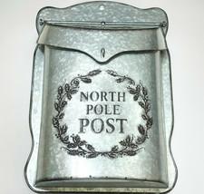 Christmas North Pole Post Mailbox Decorative Galvanized Metal Silver 10.... - $31.68