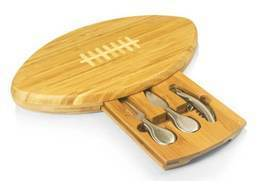 Football Bamboo Cutting Board with Cheese and Wine Tools- GREAT GIFT IDEA! - $50.00