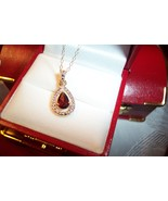 Red Garnet Teardrop Necklace - $50.00