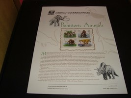 Prehistoric Animals #3077-3080 USPS Commemorative Stamp Panel #489 32 Cents - $6.29