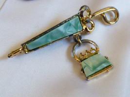 Vintage Silver Tone Aqua color Lucite Umbrella Purse Pin Brooch - $20.20
