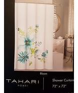 Tahari Bloom Aqua Turquoise Navy Lime on White Shower Curtain - $39.99