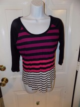 Express Navy Blue/White/Purple/Pink Striped 3/4 Sleeve Shirt Size S Wome... - $18.72
