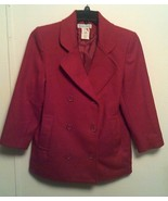 STEPHANIE ANDREWS ~ Women's 2P Red Double Breasted Button Front Wool Coat - $39.58