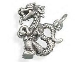 Brand New Genuine .925 Sterling Silver Small Dragon Charm - $29.95