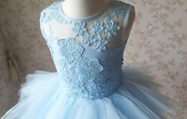 A-Line/Princess Knee-length Flower Girl Dres Blue Tulle/Lace Flowers Puffy 4-16 image 7