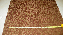 Brown Beige Victorian Swirl Print Upholstery Fabric Remnant F1059 - $59.95
