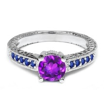 Fancy Purple, Blue Diamond Round Cut Womens Engagement Ring Solid 10k White Gold - $389.99