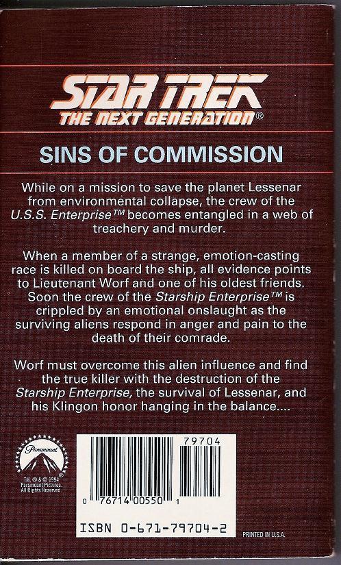 Star Trek The Next Generation Sins of Commission book 29 PB 1994