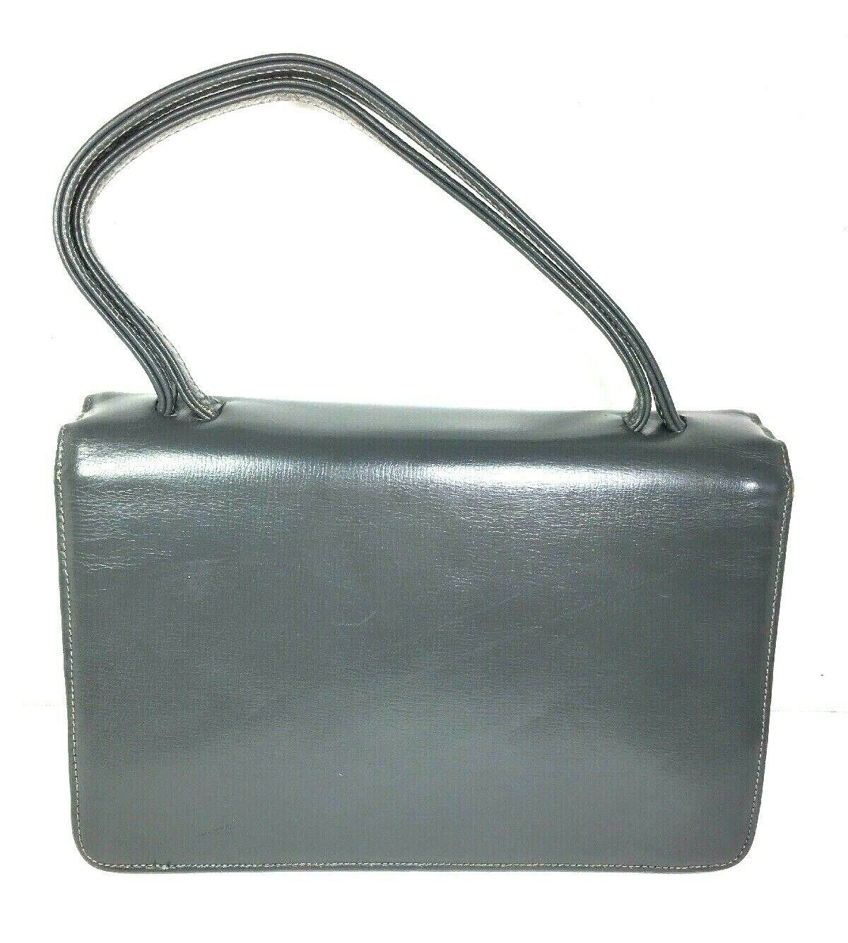 Block True Vintage Small Petite Gray Faux Leather Handbag