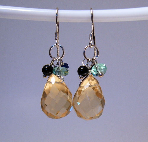Earrings sterling multi crystals and onyx  1