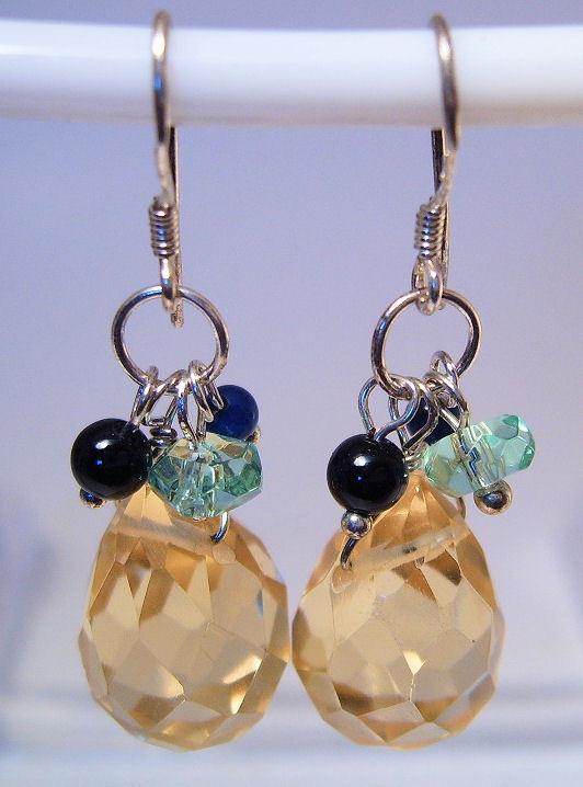 Earrings Sterling Silver Dangle Yellow Crystal Teardrop Plus