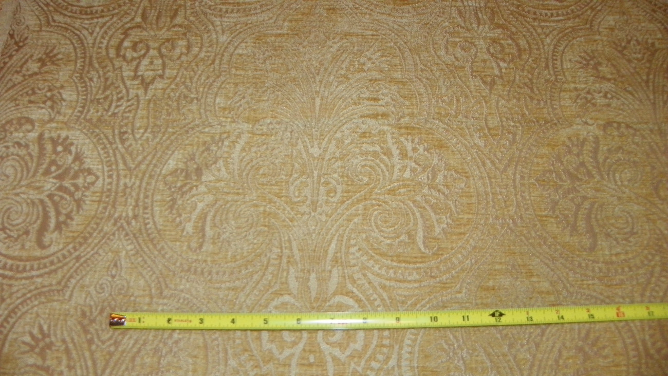 Primary image for Gold Victorian Print Chenille Upholstery Fabric Remnant F1026