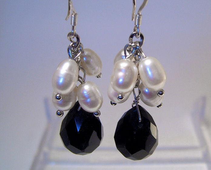 Earrings sterling crystal freshwater pearl