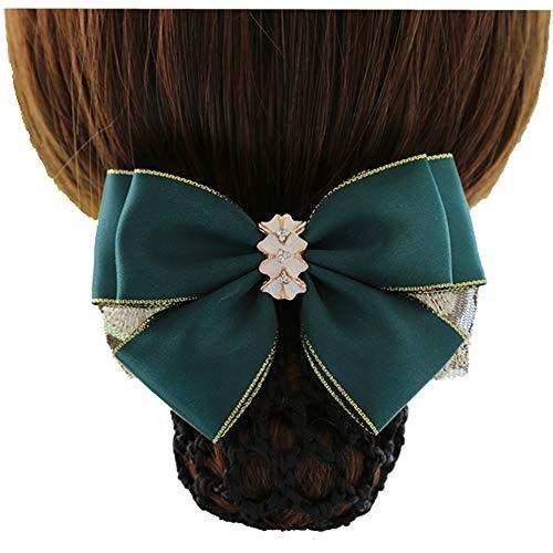Primary image for Women Hair Bun Cover Net Snood Hairnet Bowknot Barrette Hair Accessories,G1