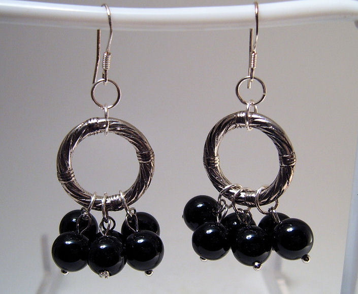 Earrings sterling onyx beads