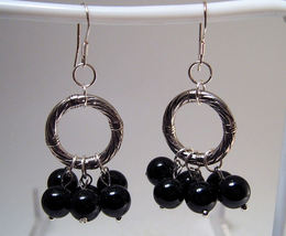 Earrings sterling onyx beads thumb200