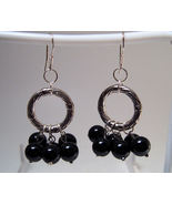Earrings Sterling Silver Dangle Black Onyx Bead... - $9.99