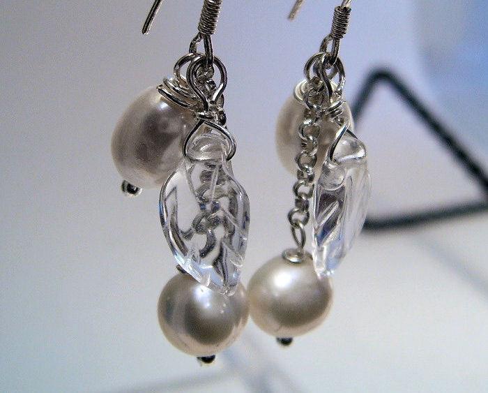Earrings Sterling Silver Dangle Crystal Pearls