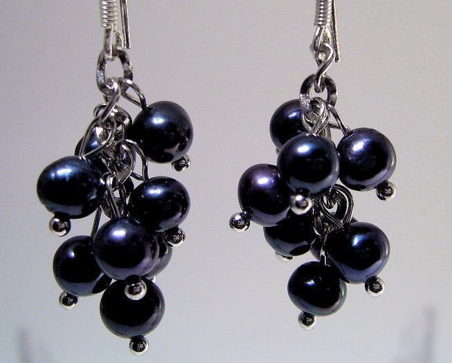 Earrings Sterling Silver Trendy Dangle Black Pearls