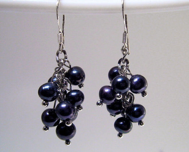 Earrings Sterling Silver Trendy Dangle Black Pearls