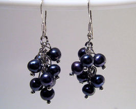 Earrings sterling sultured rice pearls black thumb200