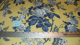 Light Gold Blue Flower Print Cotton Upholstery Fabric Remnant  F1021 - $49.95