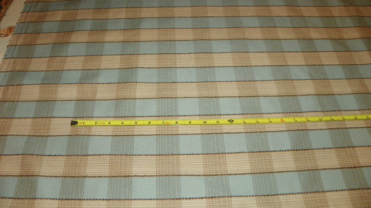 Primary image for Light Teal Beige Plaid Print Upholstery Fabric Remnant  F1049
