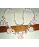 VTG STEAMPUNK PRINCESS PINK CELLULOID LUCITE FLOWER NECKLACE CLIP EARRIN... - $267.99
