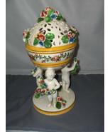 Vintage 2 Pc Capodimonte Compote Candy Trinket Cherubs Flowers RARE  Ita... - $123.75