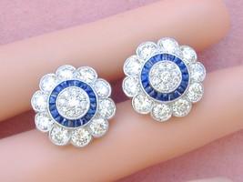 ESTATE 4.5ctw DIAMOND .80ctw SAPPHIRE HALO LARGE FLOWER CLUSTER STUD EAR... - $5,800.41