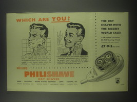 1954 Philips Philishave Dry Shaver Ad - Which are you? - $14.99