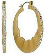 JLo Fashion Jewelry Simulated Crystal Textured Hoop Earrings - $15.99