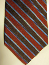 NEW Brooks Brothers Brown Copper and Light Blue Stripe Silk Tie - $37.49