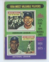MICKEY MANTLE/DON NEWCOMBE 1975 Topps MVP #194 Yankees EXCELLENT (EX) - $7.99
