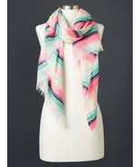Gap Women Scarf Multi-color Striped Fringe Raw Hem Light Weight Off Whit... - $24.74