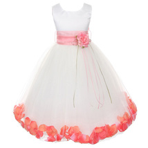 White Satin Bodice Layers Tulle Skirt Coral Flower Ribbon Brooch and Petals - $48.00