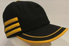 Vintage Blank 3 Side Stripes Black Yellow Snapback Trucker Hat Cap Bars USA - $42.06