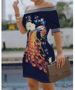 Off Shoulder Floral Peacock Print Striped Tape Bodycon Dress - $125.00