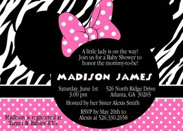 Minnie Mouse Pink Zebra Baby Shower Invitation, Custom, Personalized - £9.07 GBP