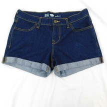Old Navy Womens Semi Fitted Cuffed Dark Wash Blue Jeans Booty Shorts Size 2 - $9.77