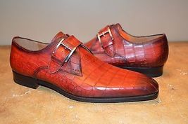 Handmade red croc leather dress shoes for men thumb200