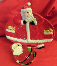 "Santa Claus Cookie or Candy Tray, 11 1/2""wide,10 3/4""Tall,+ Santa small ... - $18.81"