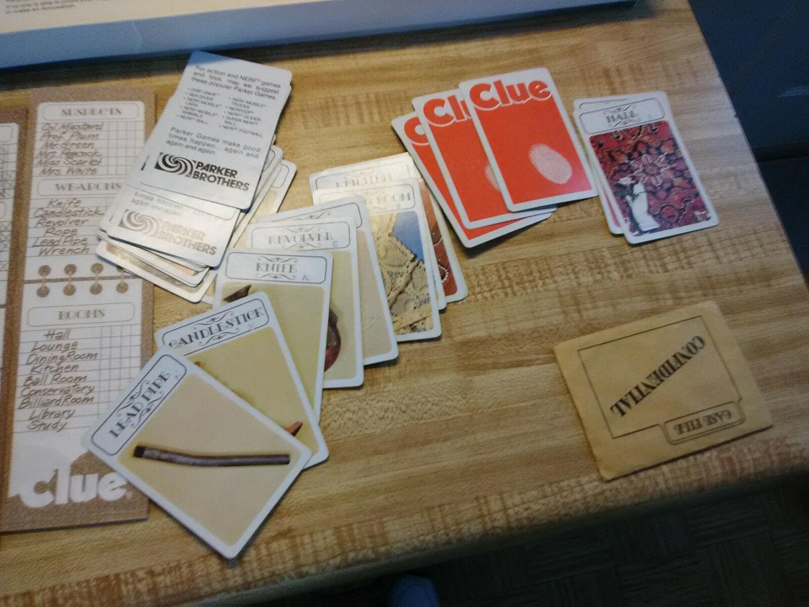 vintage parker brothers Clue game 1972