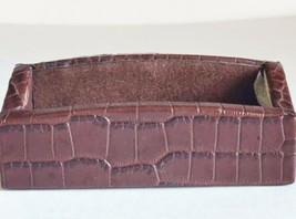 Business Card Holder Office  Dacasso Brown Crocodile Embossed Italian Le... - $23.70