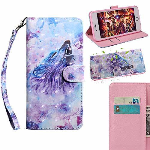 XYX Wallet Case for Motorola Moto E5 Play,[Wrist Strap] Painted Design PU Leathe