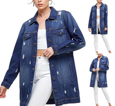 Women's Oversized Casual Cotton Button Up Distressed Long Denim Jean Jacket image 1