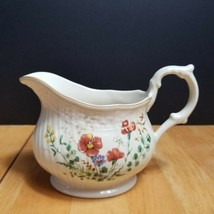 Mikasa Margaux Creamer Ivory Weave Trim Rust Yellow Floral - $9.89