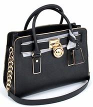 MICHAEL KORS HAMILTON SPECCHIO GOLD BLACK SAFFIANO LEATHER SATCHEL BAG P... - $258.00